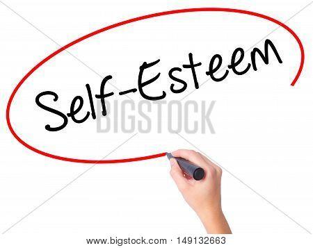 Women Hand Writing Self-esteem With Black Marker On Visual Screen.