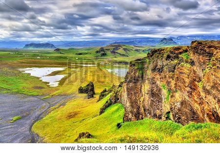 Landscape of South Iceland as seen from Dyrholaey Peninsula