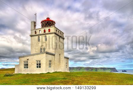 Lighthouse at Dyrholaey Cape in South Iceland