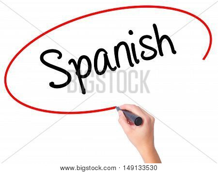 Women Hand Writing Spanish With Black Marker On Visual Screen