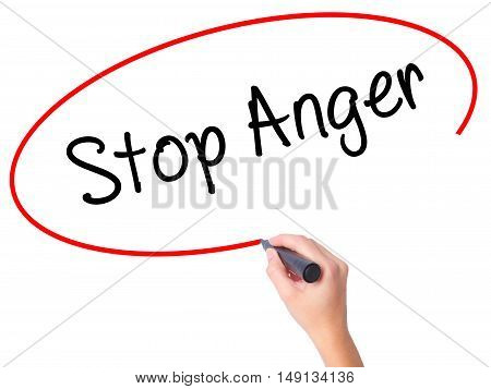 Women Hand Writing Stop Anger With Black Marker On Visual Screen