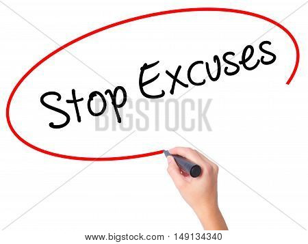 Women Hand Writing  Stop Excuses  With Black Marker On Visual Screen