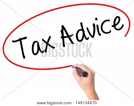 Women Hand Writing Tax Advice With Black Marker On Visual Screen