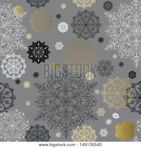 Seamless winter pattern with golden and white snowflakes and stars on gray background Holliday dark winter snowflake background. Vector illustration. Seamless snowfal background.