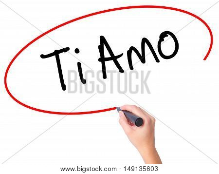 Women Hand Writing Ti Amo (i Love You In Italian) With Black Marker On Visual Screen.