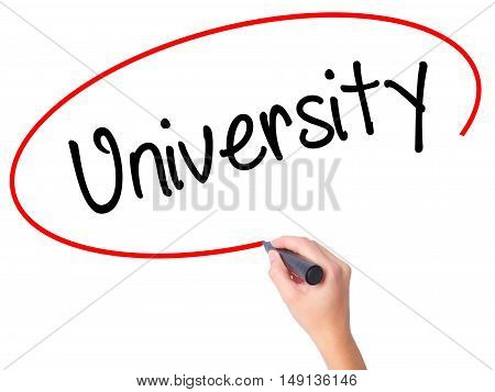Women Hand Writing University With Black Marker On Visual Screen