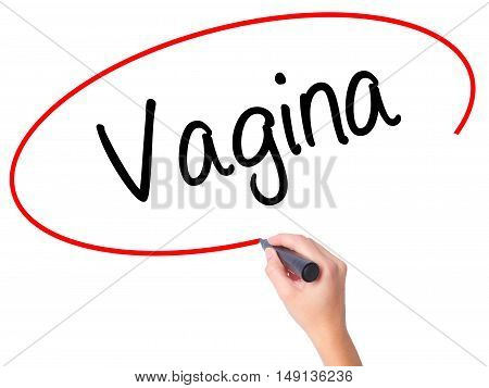 Women Hand Writing Vagina With Black Marker On Visual Screen