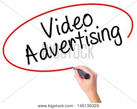 Women Hand Writing Video Advertising With Black Marker On Visual Screen