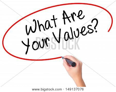 Women Hand Writing What Are Your Values? With Black Marker On Visual Screen