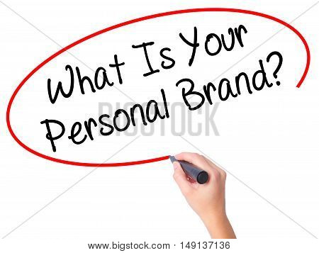 Women Hand Writing What Is Your Personal Brand? With Black Marker On Visual Screen