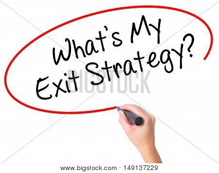 Women Hand Writing What's My Exit Strategy? With Black Marker On Visual Screen