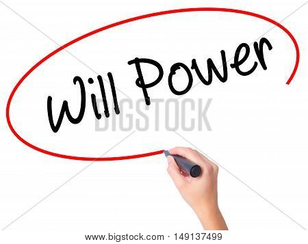 Women Hand Writing Will Power With Black Marker On Visual Screen