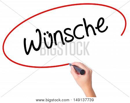 Women Hand Writing Wunsche (wishes In German) With Black Marker On Visual Screen