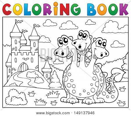Coloring book dragon near castle theme 3 - eps10 vector illustration.