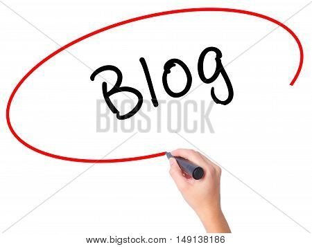 Women Hand Writing Blog With Marker On Transparent Wipe Board