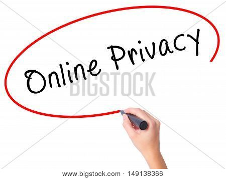 Women Hand Writing Online Privacy With Black Marker On Visual Screen