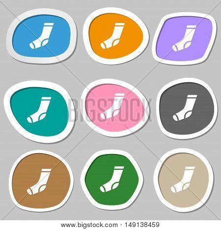 Socks Icon Symbols. Multicolored Paper Stickers. Vector