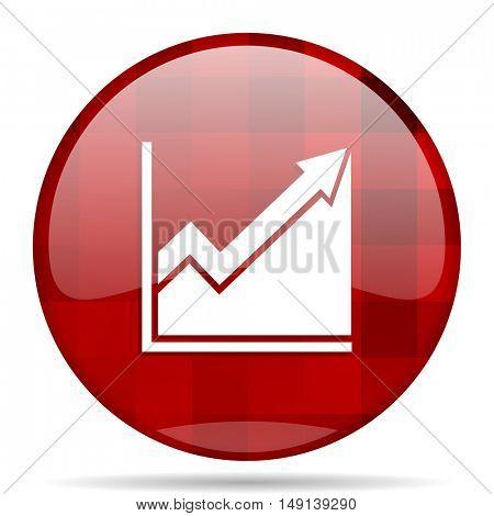 histogram red round glossy modern design web icon