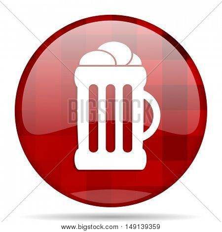 beer red round glossy modern design web icon