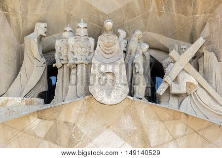 Barcelona Spain - August 17 2016: Close view on part of the Sagrada Familia with Ascent to Calvary story.