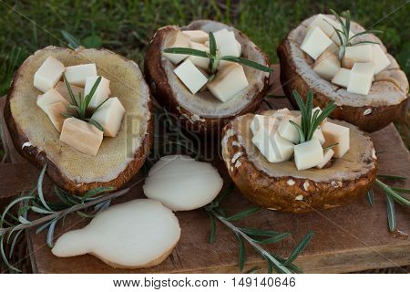 Porcini Filled With Scamorza Cheese