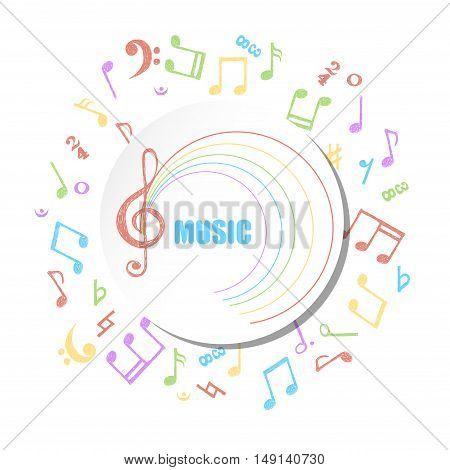 Colorful circle music background. Vector musical illustration with hand drawn notes.