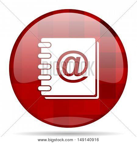 address book red round glossy modern design web icon