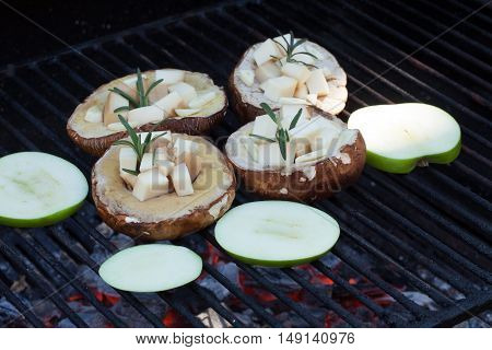 Porcini Filled With Cheese On Hot Grill