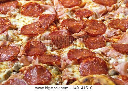 Tasty pizza with sausage and cheese closeup