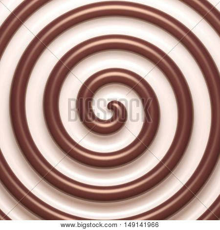 Abstract chocolate and cream spiral background. Vector illustration Eps 10