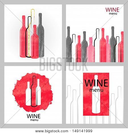 Set of watercolor wine backgrounds in red and black colors. Vector collection of wine menu design.