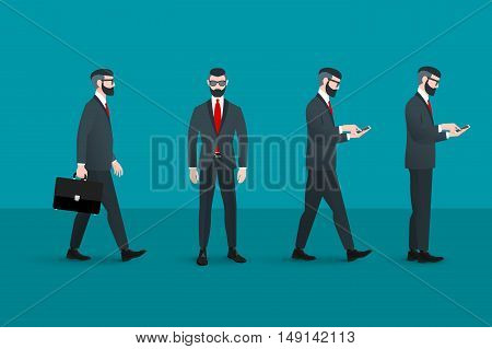 Set of trendy nerd hipster businessmans. Abstract flat vector business conceptual illustration. Vector template. Design elements.
