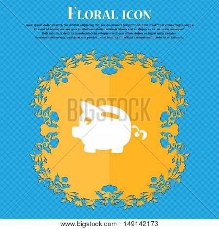 Piggy Bank Icon Sign. Floral Flat Design On A Blue Abstract Background With Place For Your Text. Vec
