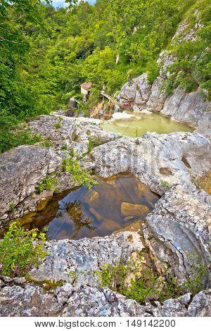 Mirna river canyon in village Kotle Istria Croatia