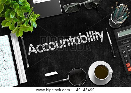 Accountability on Black Chalkboard. Black Chalkboard with Accountability Concept. 3d Rendering.