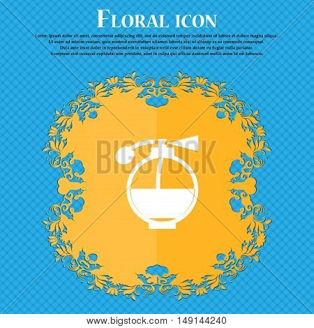 Perfume Icon Sign. Floral Flat Design On A Blue Abstract Background With Place For Your Text. Vector