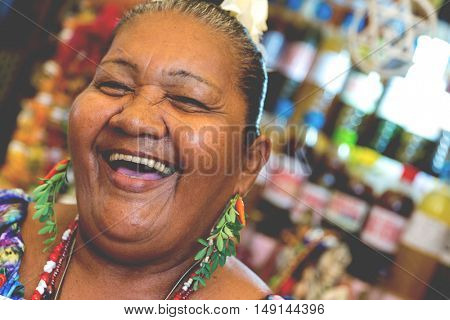 Brazilian woman at Belem do Para market in Brazil