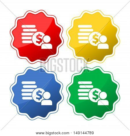 Employee wages icon Vector set on white background