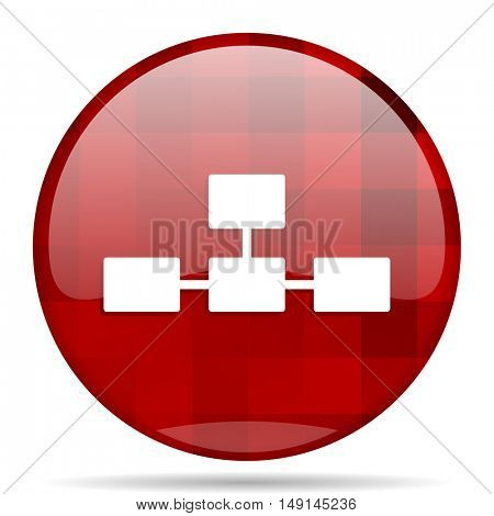 database red round glossy modern design web icon