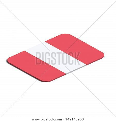 Flag of Peru. Background white. Flag of Peru isolated. 3d vector eps.