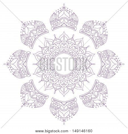 Chakra Sahasrara for Henna Tattoo and for Your Design. Vector illustration
