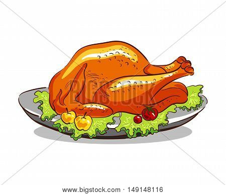 Roasted turkey with fruits and vegetables on a plate. Hand drawn turkey isolated on white background. Vector illustration.