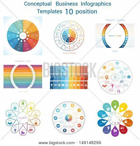 Set Vector templates Infographics business conceptual cyclic processes for ten positions text area possible to use for pie chart workflow banner diagram web design timeline area chart