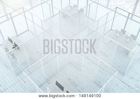Top view of abstract office interior with framed glass partitions and white wooden floor. 3D Rendering