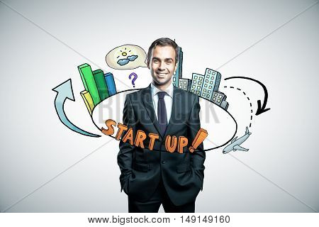 Abstract circular startup sketch around confident business man in suit on blight background. Start up concept