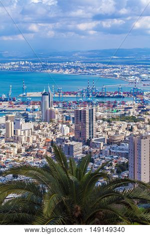 Aerial View of Haifa city and sea Israel