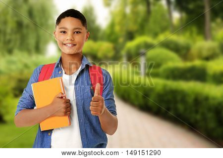 Cute boy with backpack and book on blurred nature background. School concept.