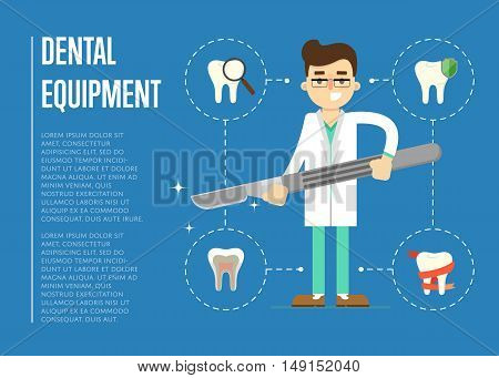Dental care concept. Dental care flat vector illustration. Dental care symbols. Dentist work. Dental elements. Graphic for dental clinic or dentist office. Tooth icon. Dentist character with dentist tools. Dental background. Dental care infographics