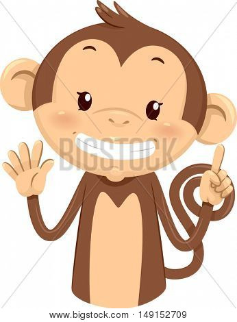 Mascot Illustration of a Cute Monkey Using His Fingers to Gesture the Number Six