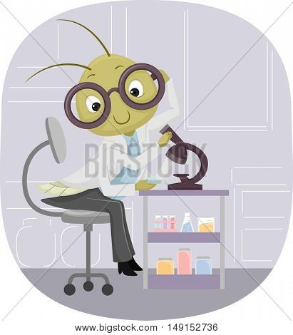 Animal Mascot Illustration Featuring a Cricket Observing a Specimen Under a Microscope